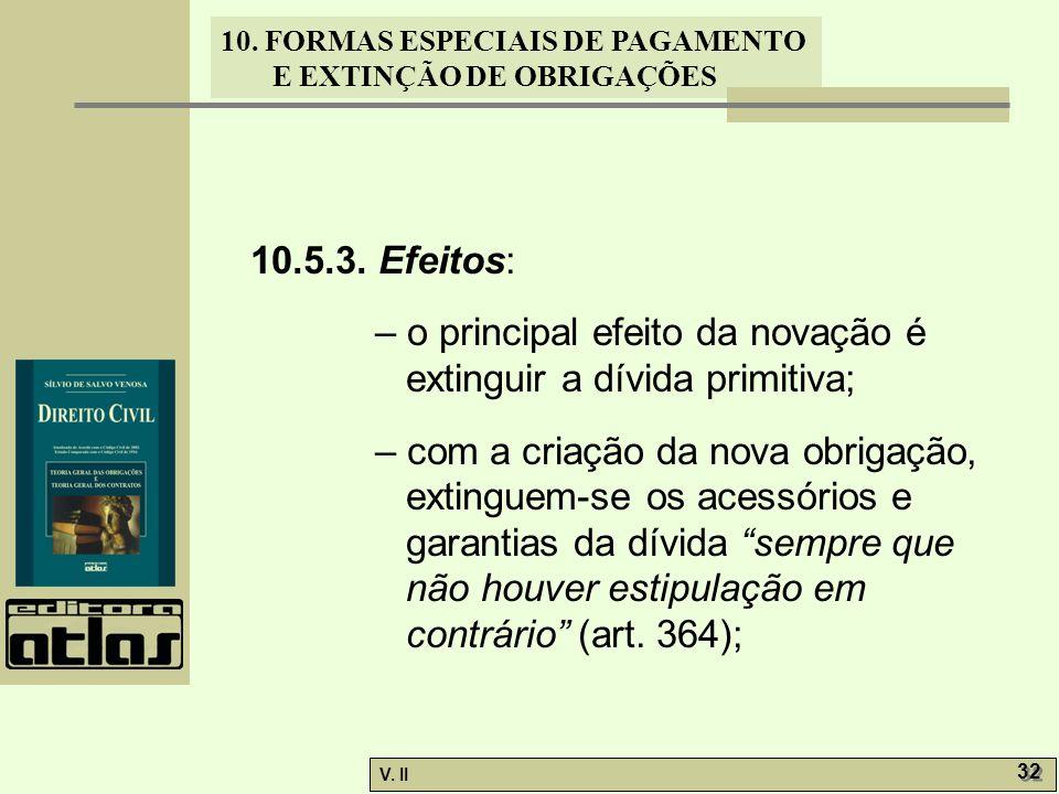 V. II 32 10. FORMAS ESPECIAIS DE PAGAMENTO E EXTINÇÃO DE OBRIGAÇÕES 10.5.3. Efeitos: – o principal efeito da novação é extinguir a dívida primitiva; –