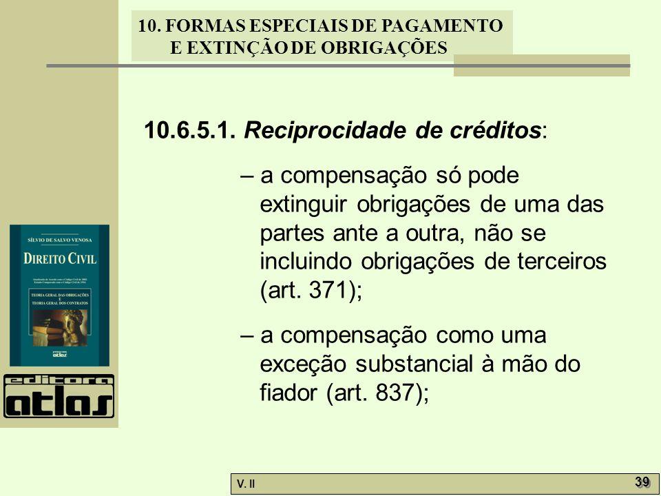 V. II 39 10. FORMAS ESPECIAIS DE PAGAMENTO E EXTINÇÃO DE OBRIGAÇÕES 10.6.5.1. Reciprocidade de créditos: – a compensação só pode extinguir obrigações