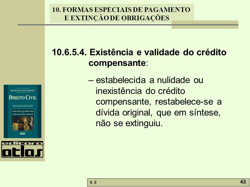 V. II 43 10. FORMAS ESPECIAIS DE PAGAMENTO E EXTINÇÃO DE OBRIGAÇÕES 10.6.5.4. Existência e validade do crédito compensante: – estabelecida a nulidade
