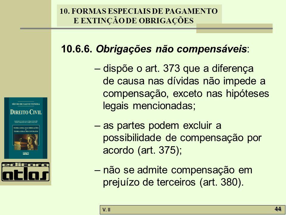 V. II 44 10. FORMAS ESPECIAIS DE PAGAMENTO E EXTINÇÃO DE OBRIGAÇÕES 10.6.6. Obrigações não compensáveis: – dispõe o art. 373 que a diferença de causa