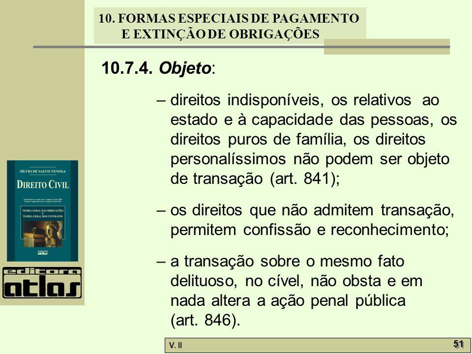 V. II 51 10. FORMAS ESPECIAIS DE PAGAMENTO E EXTINÇÃO DE OBRIGAÇÕES 10.7.4. Objeto: – direitos indisponíveis, os relativos ao estado e à capacidade da
