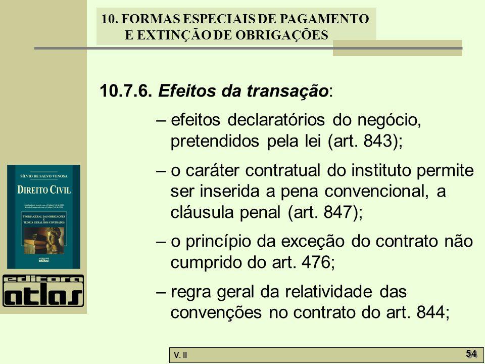V. II 54 10. FORMAS ESPECIAIS DE PAGAMENTO E EXTINÇÃO DE OBRIGAÇÕES 10.7.6. Efeitos da transação: – efeitos declaratórios do negócio, pretendidos pela