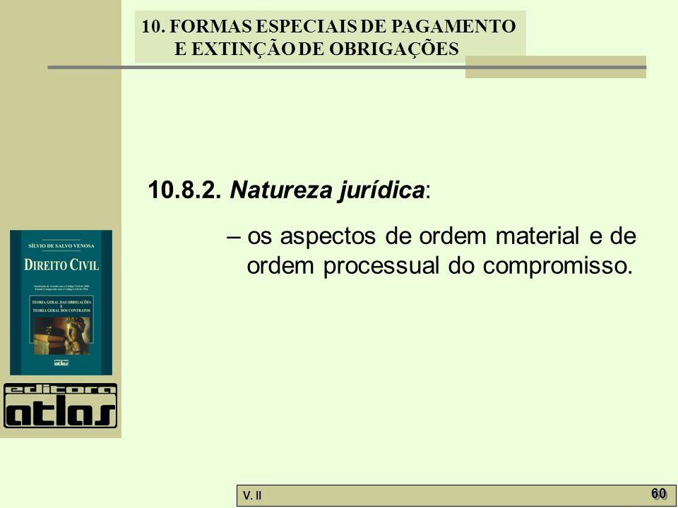 V. II 60 10. FORMAS ESPECIAIS DE PAGAMENTO E EXTINÇÃO DE OBRIGAÇÕES 10.8.2. Natureza jurídica: – os aspectos de ordem material e de ordem processual d