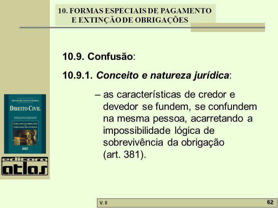 V. II 62 10. FORMAS ESPECIAIS DE PAGAMENTO E EXTINÇÃO DE OBRIGAÇÕES 10.9. Confusão: 10.9.1. Conceito e natureza jurídica: – as características de cred