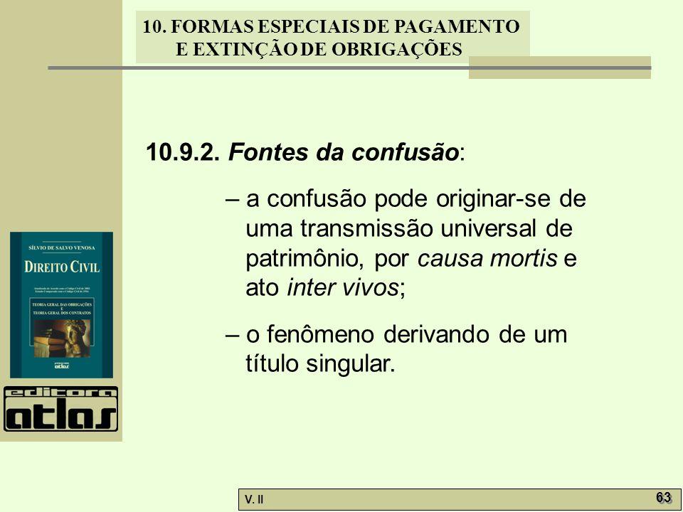 V. II 63 10. FORMAS ESPECIAIS DE PAGAMENTO E EXTINÇÃO DE OBRIGAÇÕES 10.9.2. Fontes da confusão: – a confusão pode originar-se de uma transmissão unive