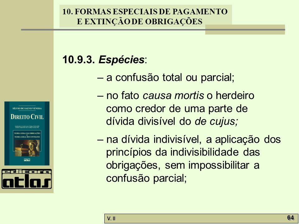 V. II 64 10. FORMAS ESPECIAIS DE PAGAMENTO E EXTINÇÃO DE OBRIGAÇÕES 10.9.3. Espécies: – a confusão total ou parcial; – no fato causa mortis o herdeiro