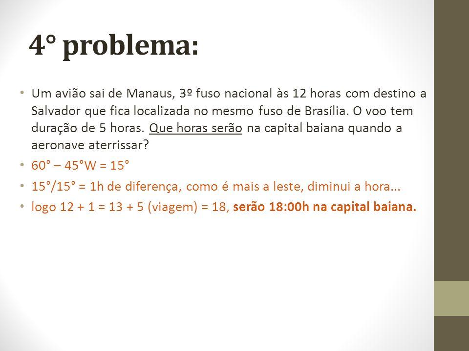 4° problema: Um avião sai de Manaus, 3º fuso nacional às 12 horas com destino a Salvador que fica localizada no mesmo fuso de Brasília. O voo tem dura