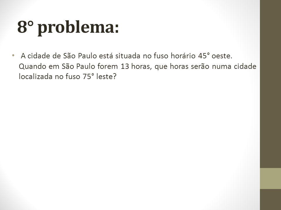 8° problema: A cidade de São Paulo está situada no fuso horário 45° oeste. Quando em São Paulo forem 13 horas, que horas serão numa cidade localizada