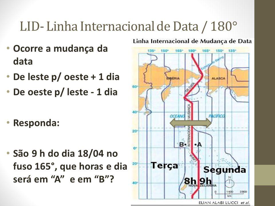LID- Linha Internacional de Data / 180° Ocorre a mudança da data De leste p/ oeste + 1 dia De oeste p/ leste - 1 dia Responda: São 9 h do dia 18/04 no