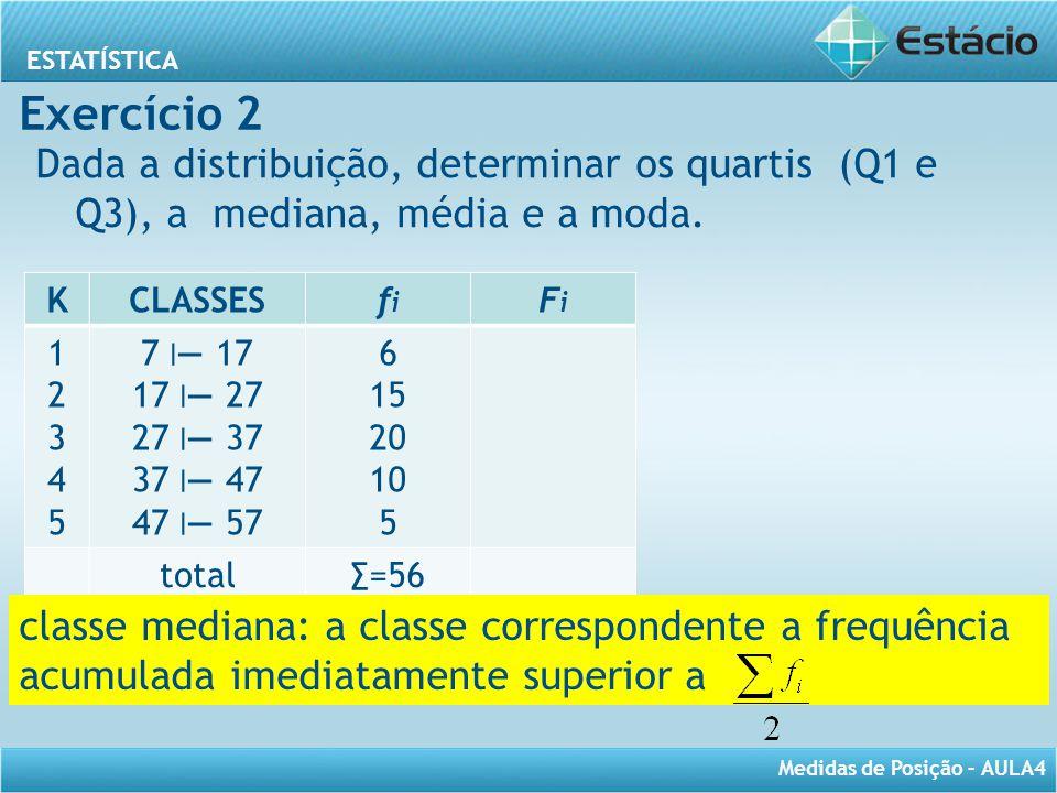 ESTATÍSTICA Medidas de Posição – AULA4 Exercício 2 Dada a distribuição, determinar os quartis (Q1 e Q3), a mediana, média e a moda. KCLASSESfifi FiFi
