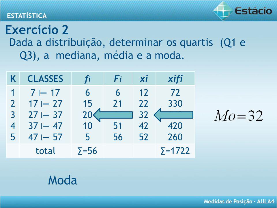 ESTATÍSTICA Medidas de Posição – AULA4 Dada a distribuição, determinar os quartis (Q1 e Q3), a mediana, média e a moda. KCLASSESfifi FiFi xixifi 12345