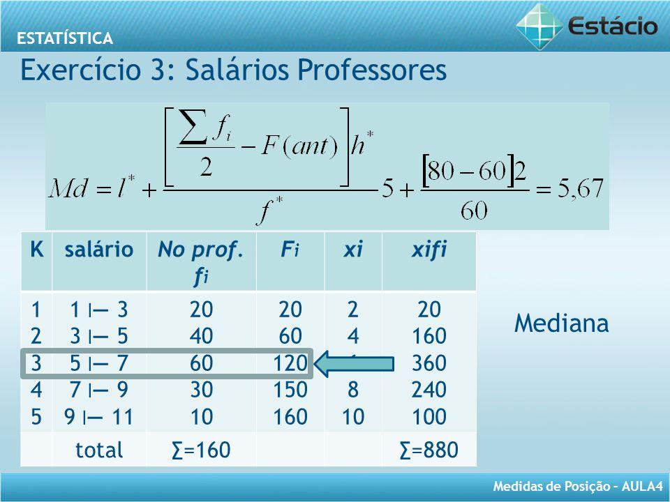 ESTATÍSTICA Medidas de Posição – AULA4 Mediana KsalárioNo prof. f i FiFi xixifi 1234512345 1 ׀ — 3 3 ׀ — 5 5 ׀ — 7 7 ׀ — 9 9 ׀ — 11 20 40 60 30 10 20