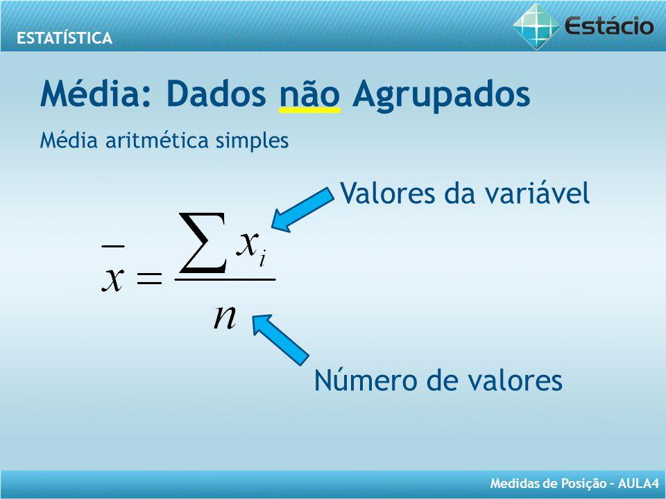 ESTATÍSTICA Medidas de Posição – AULA4 Média: Dados não Agrupados Média aritmética simples Valores da variável Número de valores