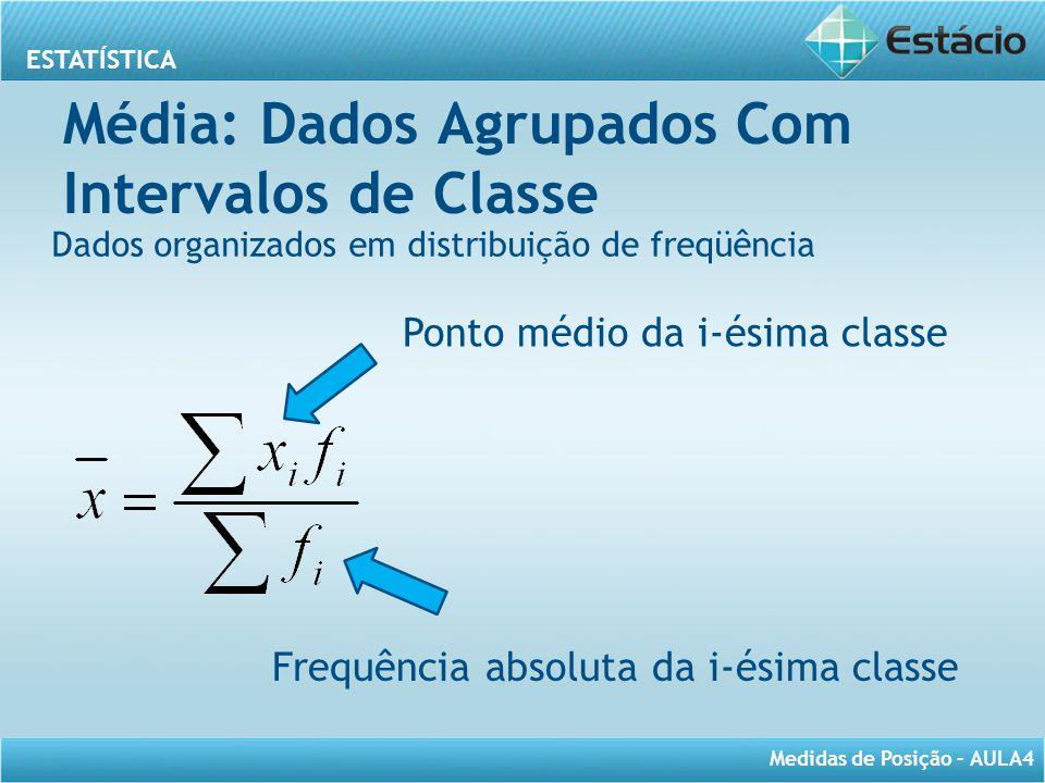 ESTATÍSTICA Medidas de Posição – AULA4 Média: Dados Agrupados Com Intervalos de Classe Dados organizados em distribuição de freqüência Ponto médio da