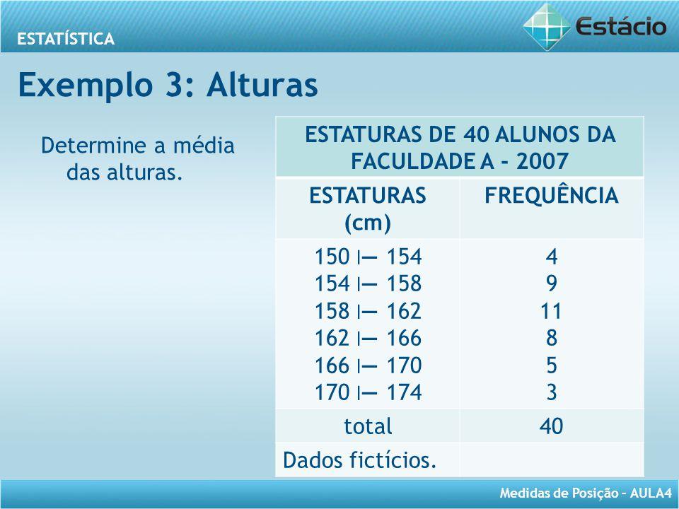 ESTATÍSTICA Medidas de Posição – AULA4 Exemplo 3: Alturas Determine a média das alturas. ESTATURAS DE 40 ALUNOS DA FACULDADE A - 2007 ESTATURAS (cm) F