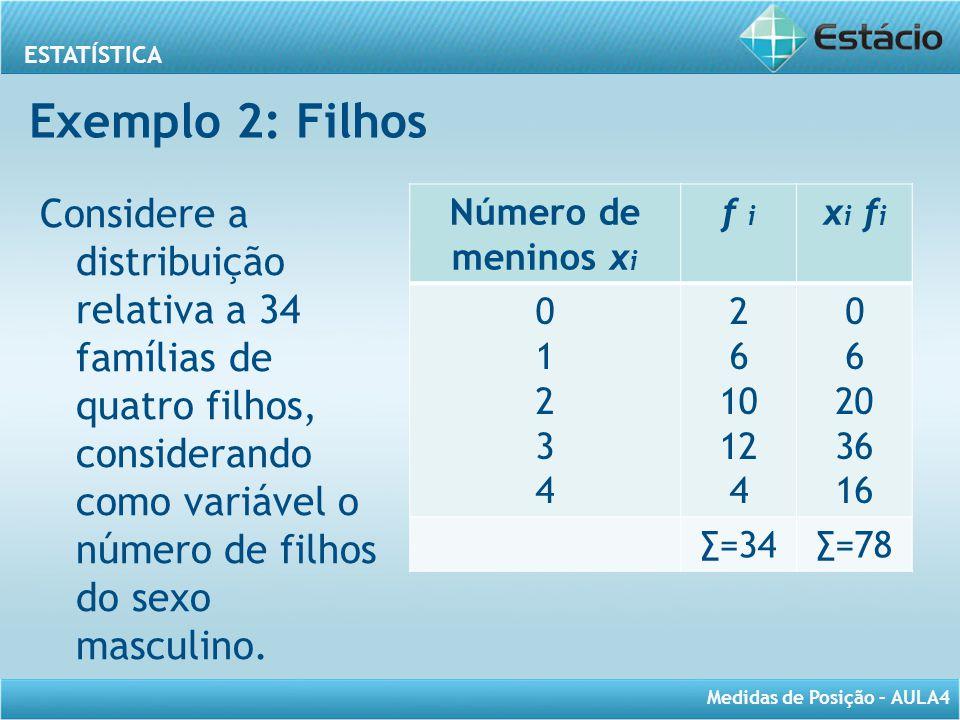 ESTATÍSTICA Medidas de Posição – AULA4 Número de meninos x i f i x i f i 0123401234 2 6 10 12 4 0 6 20 36 16 ∑=34∑=78 Considere a distribuição relativ
