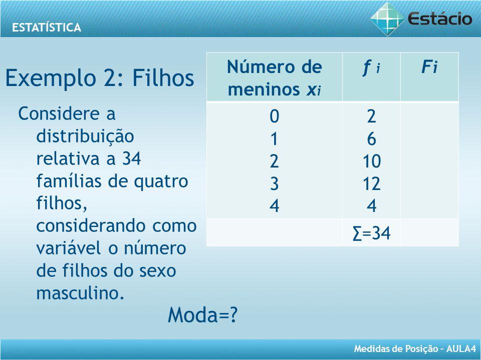 ESTATÍSTICA Medidas de Posição – AULA4 Número de meninos x i f i FiFi 0123401234 2 6 10 12 4 ∑=34 Considere a distribuição relativa a 34 famílias de q