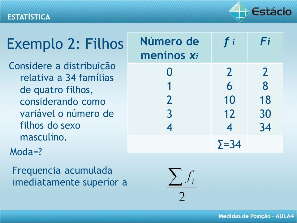 ESTATÍSTICA Medidas de Posição – AULA4 Número de meninos x i f i FiFi 0123401234 2 6 10 12 4 2 8 18 30 34 ∑=34 Frequencia acumulada imediatamente supe