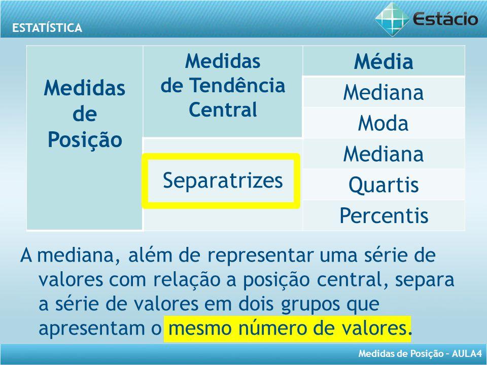 ESTATÍSTICA Medidas de Posição – AULA4 A mediana, além de representar uma série de valores com relação a posição central, separa a série de valores em