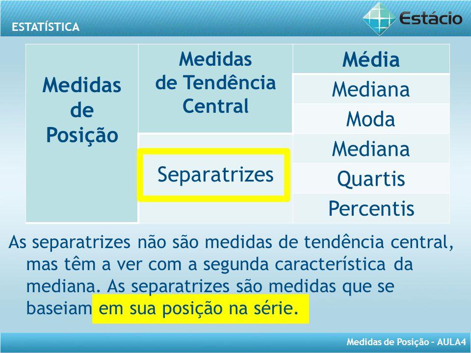 ESTATÍSTICA Medidas de Posição – AULA4 As separatrizes não são medidas de tendência central, mas têm a ver com a segunda característica da mediana. As