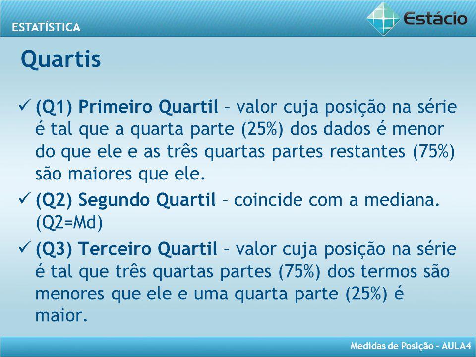 ESTATÍSTICA Medidas de Posição – AULA4 Quartis (Q1) Primeiro Quartil – valor cuja posição na série é tal que a quarta parte (25%) dos dados é menor do