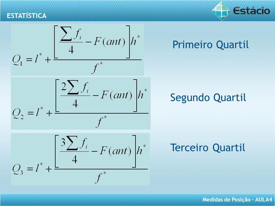 ESTATÍSTICA Medidas de Posição – AULA4 Primeiro Quartil Segundo Quartil Terceiro Quartil