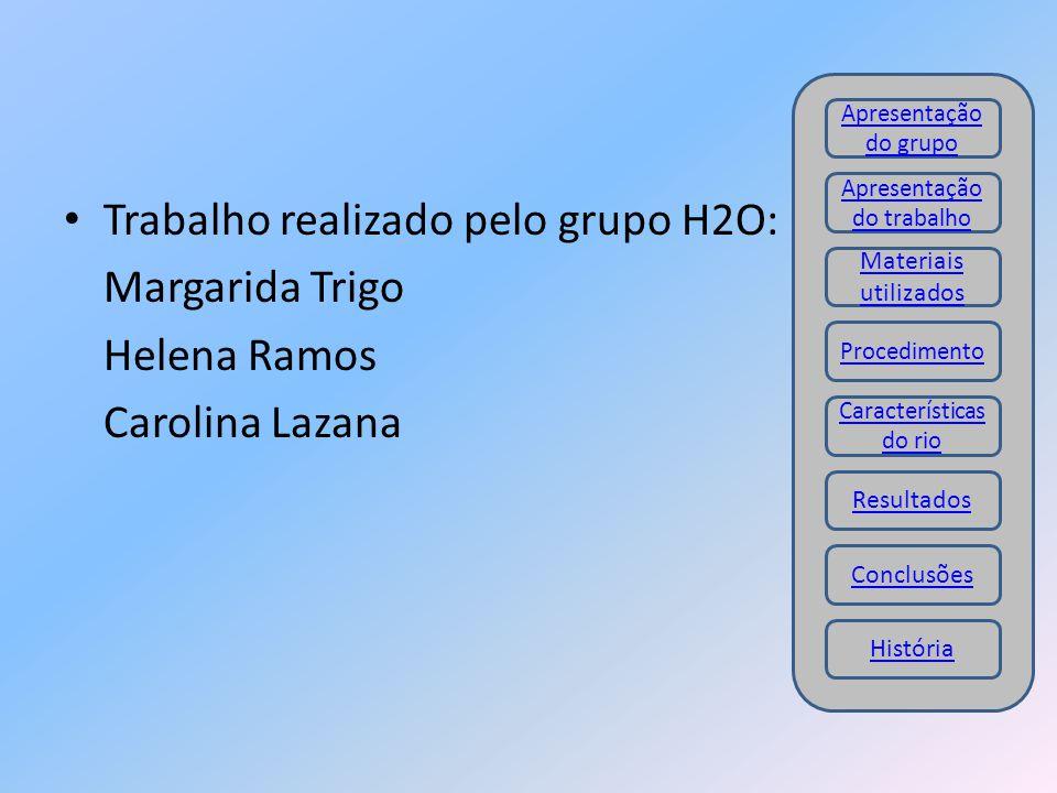 Trabalho realizado pelo grupo H2O: Margarida Trigo Helena Ramos Carolina Lazana Materiais utilizados Procedimento Resultados Conclusões Apresentação d