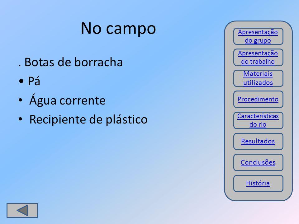 No campo. Botas de borracha Pá Água corrente Recipiente de plástico Materiais utilizados Procedimento Resultados Conclusões Apresentação do trabalho A