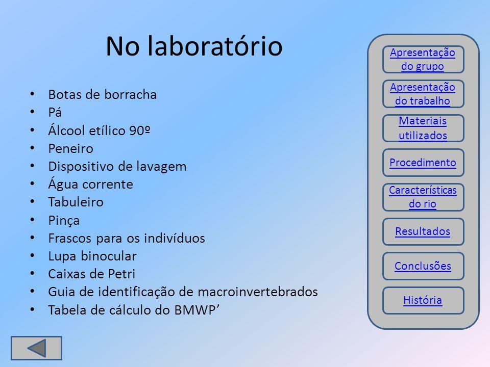 No laboratório Botas de borracha Pá Álcool etílico 90º Peneiro Dispositivo de lavagem Água corrente Tabuleiro Pinça Frascos para os indivíduos Lupa bi