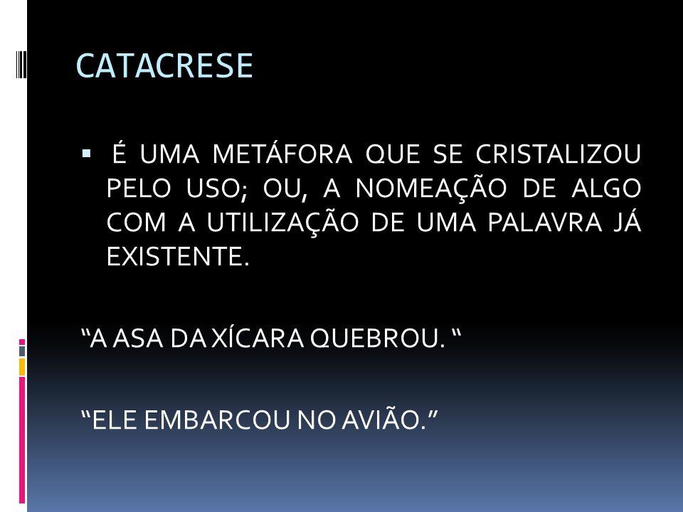 CATACRESE  É UMA METÁFORA QUE SE CRISTALIZOU PELO USO; OU, A NOMEAÇÃO DE ALGO COM A UTILIZAÇÃO DE UMA PALAVRA JÁ EXISTENTE.
