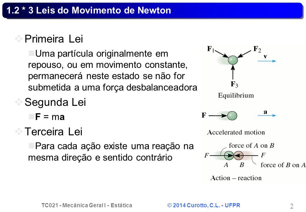 TC021 - Mecânica Geral I - Estática © 2014 Curotto, C.L. - UFPR 2 1.2 * 3 Leis do Movimento de Newton  Primeira Lei Uma partícula originalmente em re