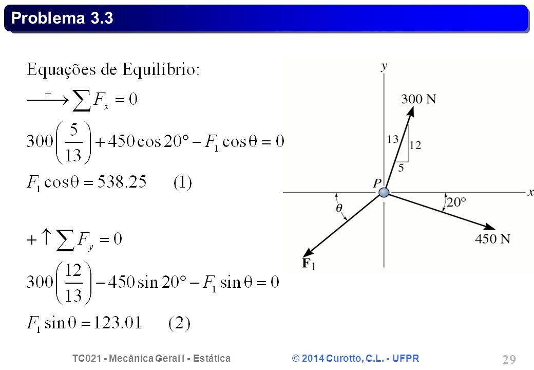 TC021 - Mecânica Geral I - Estática © 2014 Curotto, C.L. - UFPR 29 Problema 3.3