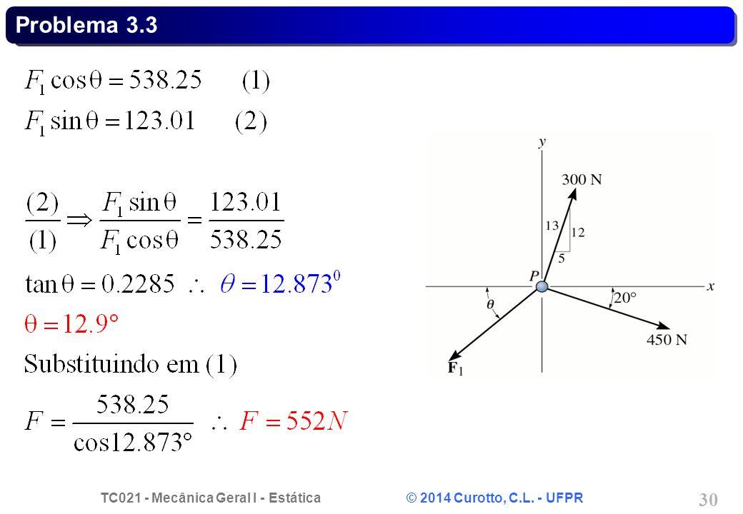TC021 - Mecânica Geral I - Estática © 2014 Curotto, C.L. - UFPR 30 Problema 3.3