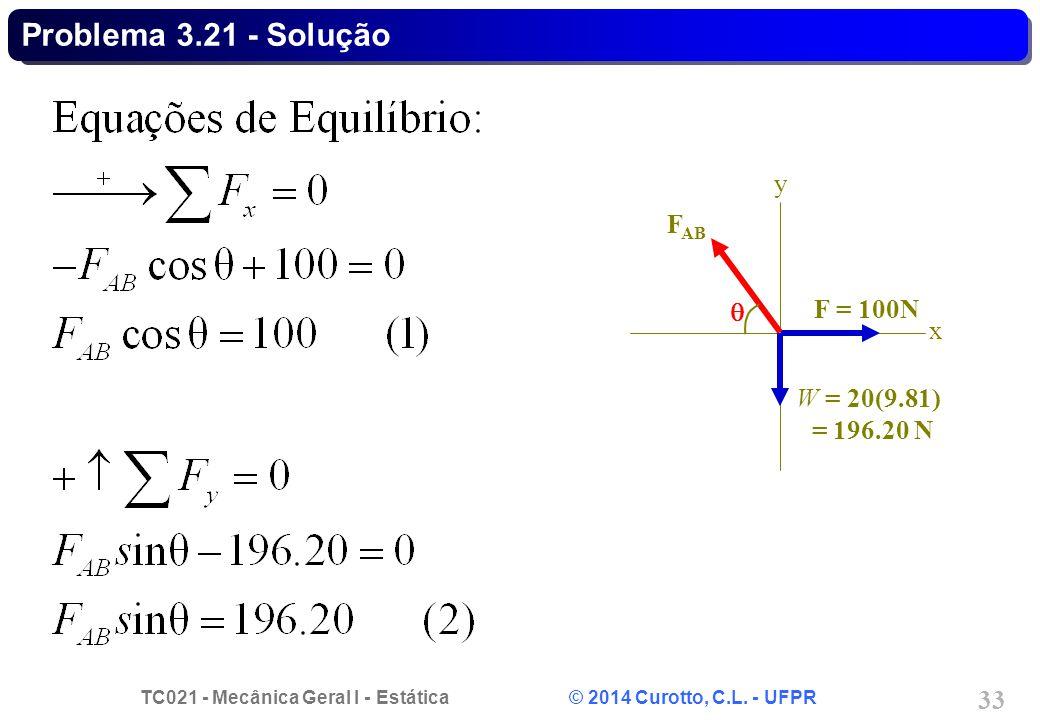 TC021 - Mecânica Geral I - Estática © 2014 Curotto, C.L. - UFPR 33 Problema 3.21 - Solução F = 100N x y W = 20(9.81) = 196.20 N F AB 