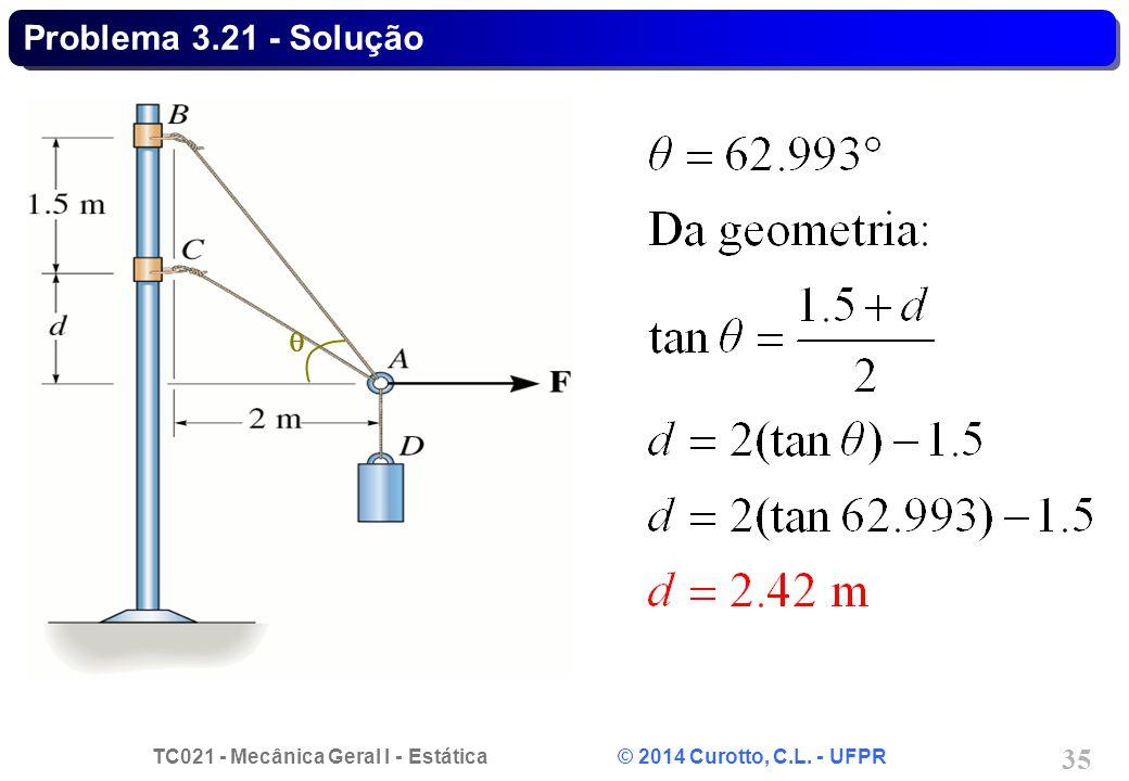 TC021 - Mecânica Geral I - Estática © 2014 Curotto, C.L. - UFPR 35 Problema 3.21 - Solução 