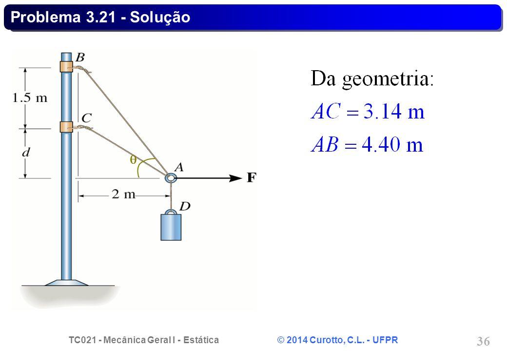 TC021 - Mecânica Geral I - Estática © 2014 Curotto, C.L. - UFPR 36 Problema 3.21 - Solução 