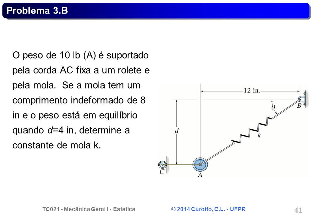 TC021 - Mecânica Geral I - Estática © 2014 Curotto, C.L. - UFPR 41 Problema 3.B O peso de 10 lb (A) é suportado pela corda AC fixa a um rolete e pela