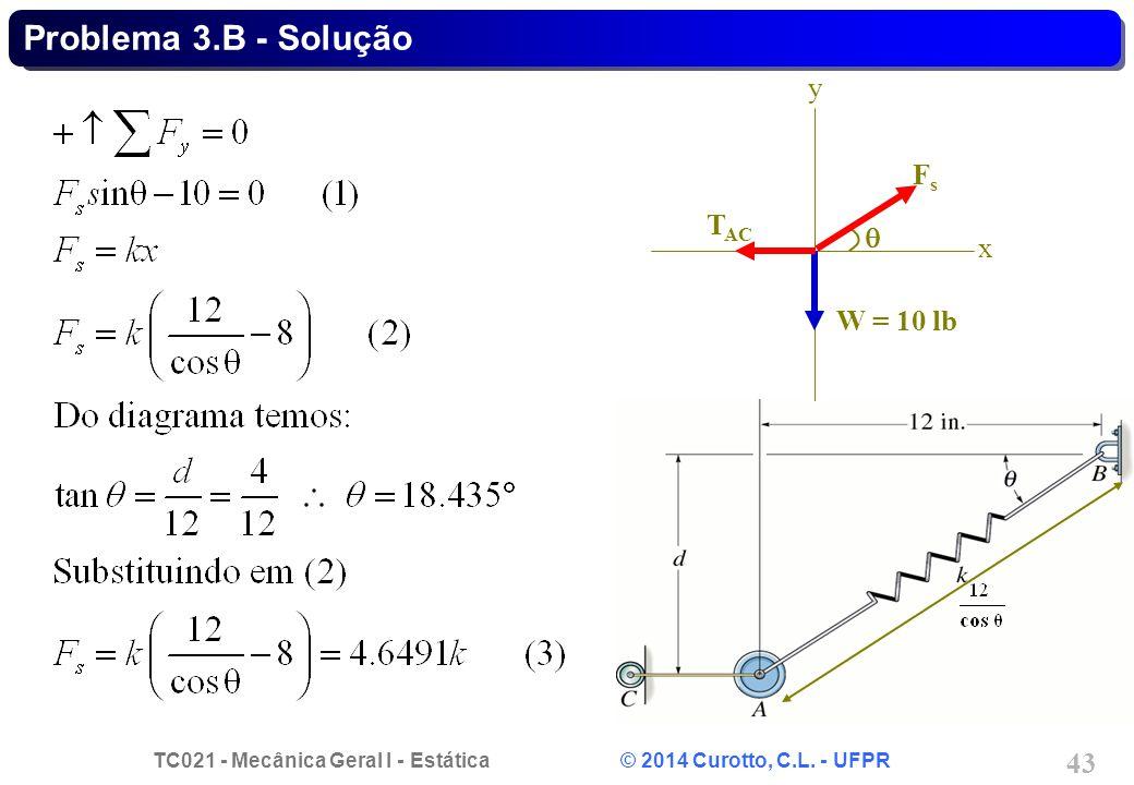 TC021 - Mecânica Geral I - Estática © 2014 Curotto, C.L. - UFPR 43 Problema 3.B - Solução FsFs x y W = 10 lb T AC 