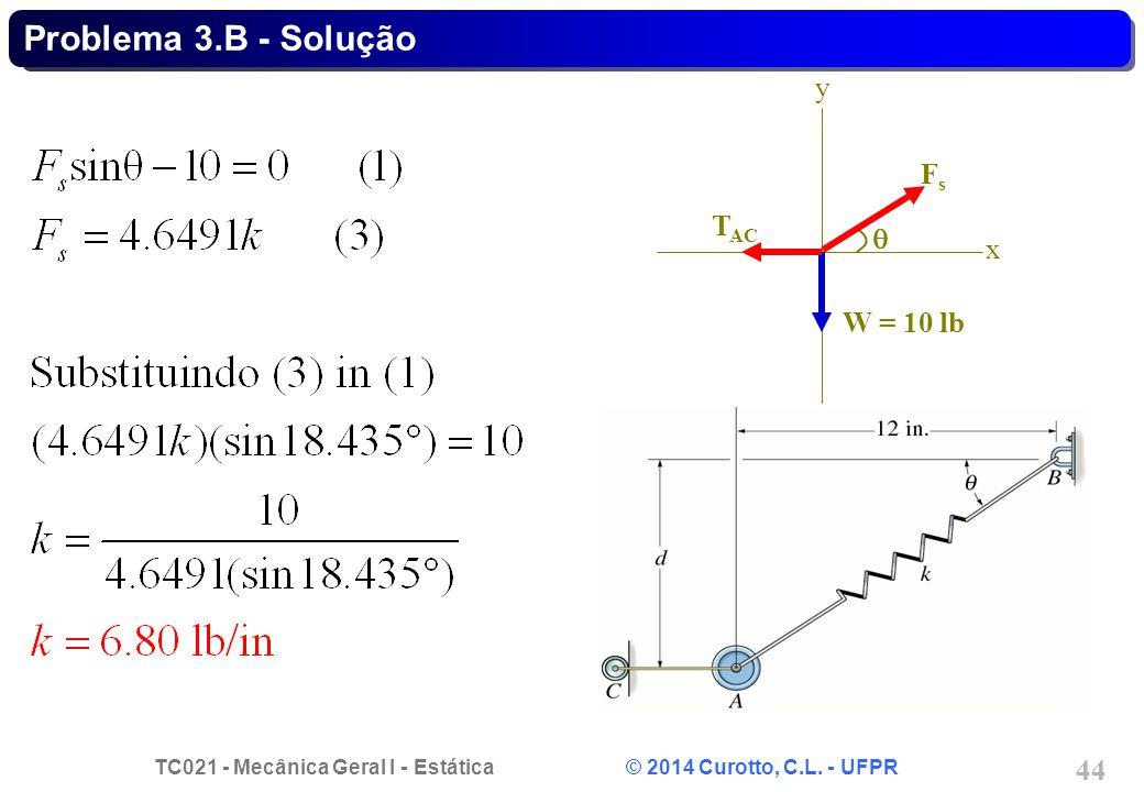 TC021 - Mecânica Geral I - Estática © 2014 Curotto, C.L. - UFPR 44 Problema 3.B - Solução FsFs x y W = 10 lb T AC 