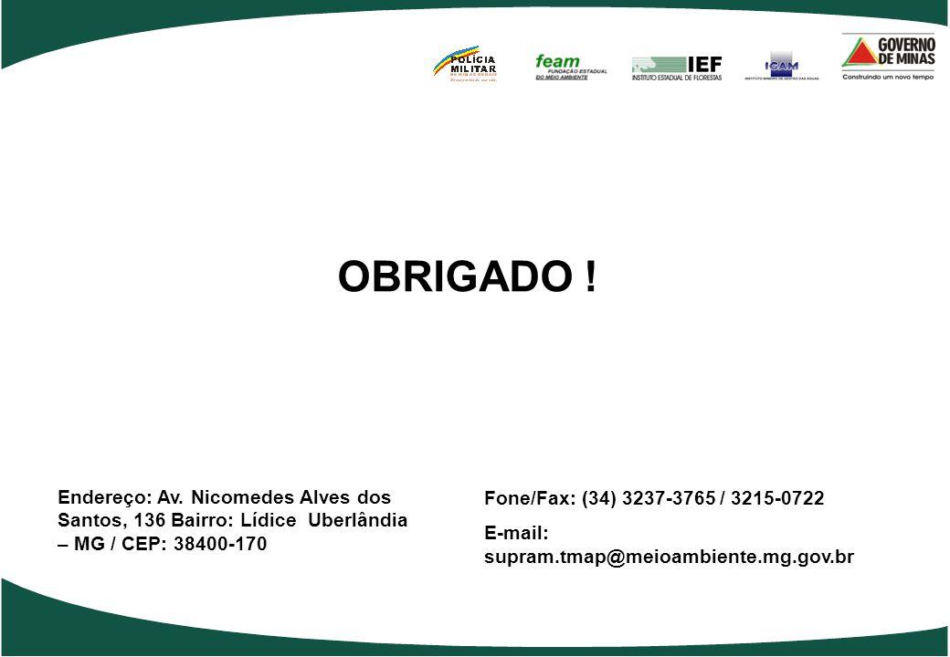 Endereço: Av. Nicomedes Alves dos Santos, 136 Bairro: Lídice Uberlândia – MG / CEP: 38400-170 Fone/Fax: (34) 3237-3765 / 3215-0722 E-mail: supram.tmap