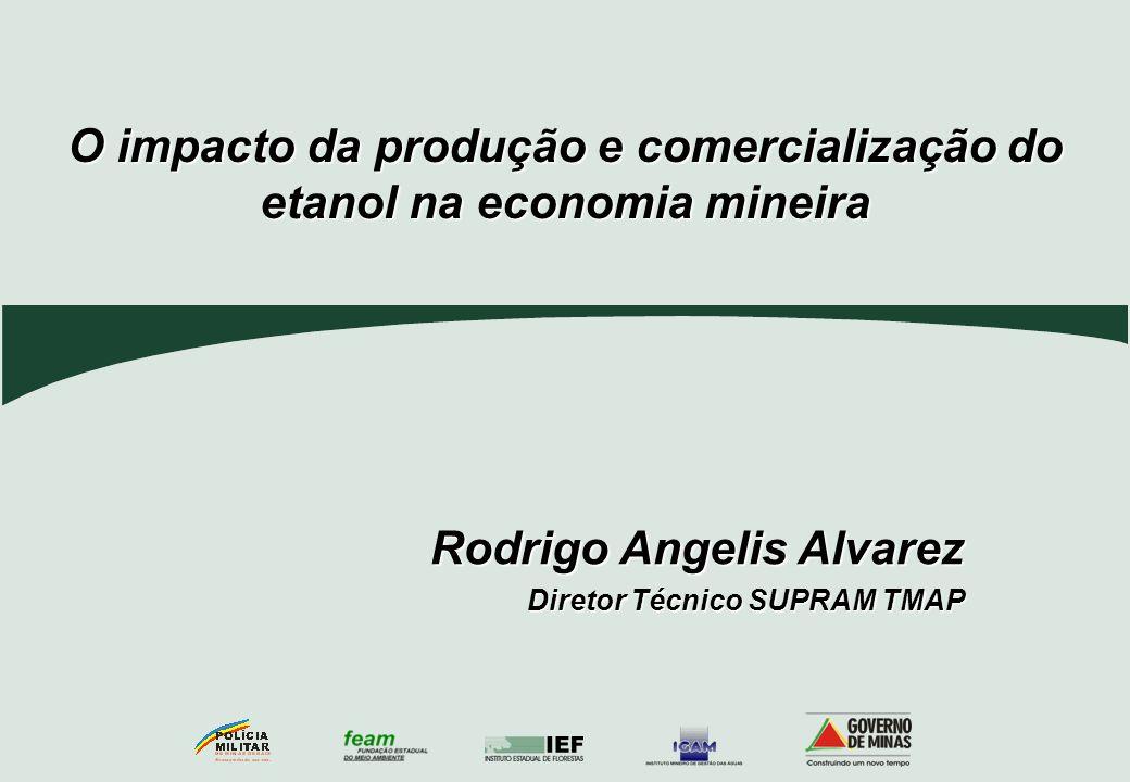 O impacto da produção e comercialização do etanol na economia mineira Rodrigo Angelis Alvarez Diretor Técnico SUPRAM TMAP