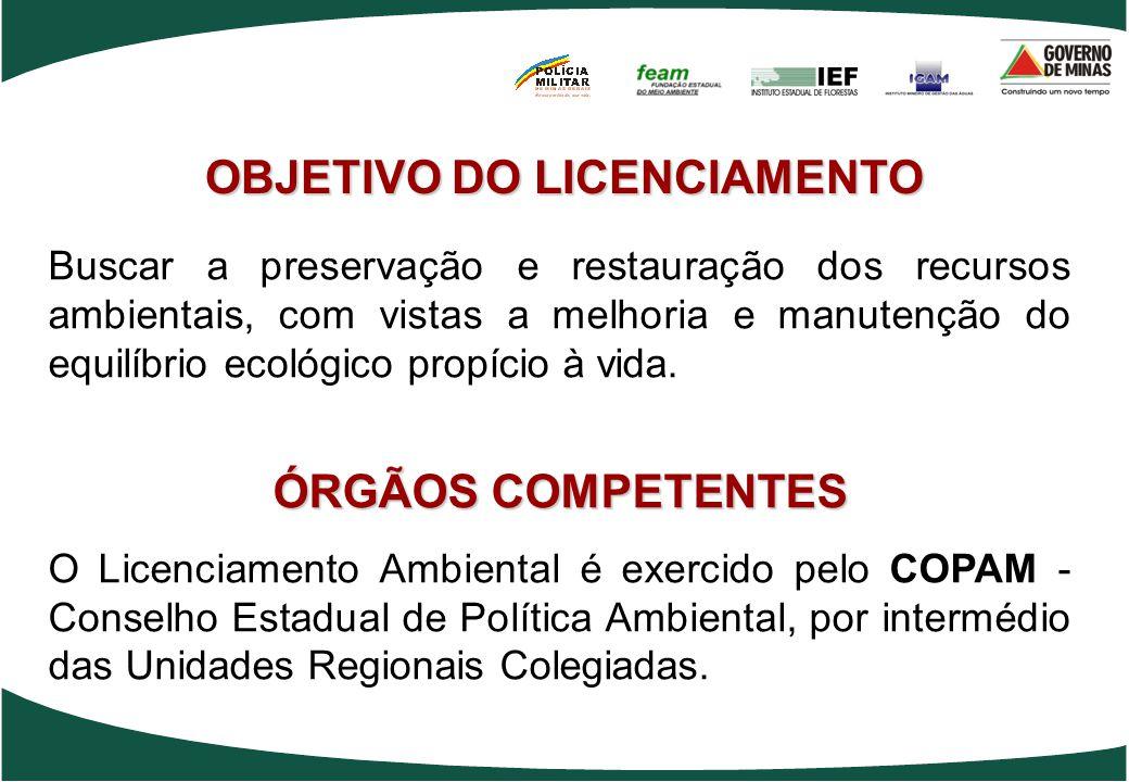 OBJETIVO DO LICENCIAMENTO Buscar a preservação e restauração dos recursos ambientais, com vistas a melhoria e manutenção do equilíbrio ecológico propí