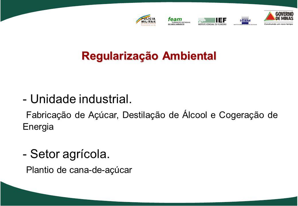 Regularização Ambiental - Unidade industrial. Fabricação de Açúcar, Destilação de Álcool e Cogeração de Energia - Setor agrícola. Plantio de cana-de-a