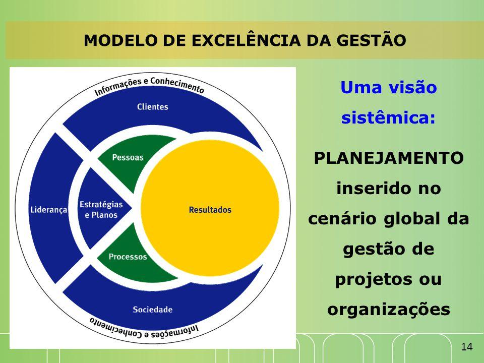 MODELO DE EXCELÊNCIA DA GESTÃO Uma visão sistêmica: PLANEJAMENTO inserido no cenário global da gestão de projetos ou organizações 14