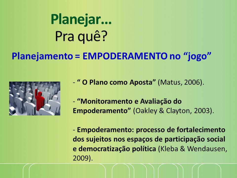 """Planejar... Pra quê? - """" O Plano como Aposta"""" (Matus, 2006). - """"Monitoramento e Avaliação do Empoderamento"""" (Oakley & Clayton, 2003). - Empoderamento:"""
