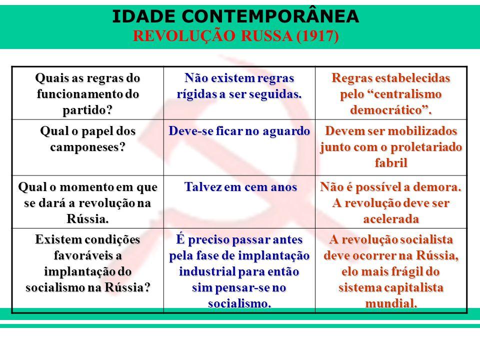 IDADE CONTEMPORÂNEA REVOLUÇÃO RUSSA (1917) Quais as regras do funcionamento do partido? Não existem regras rígidas a ser seguidas. Regras estabelecida