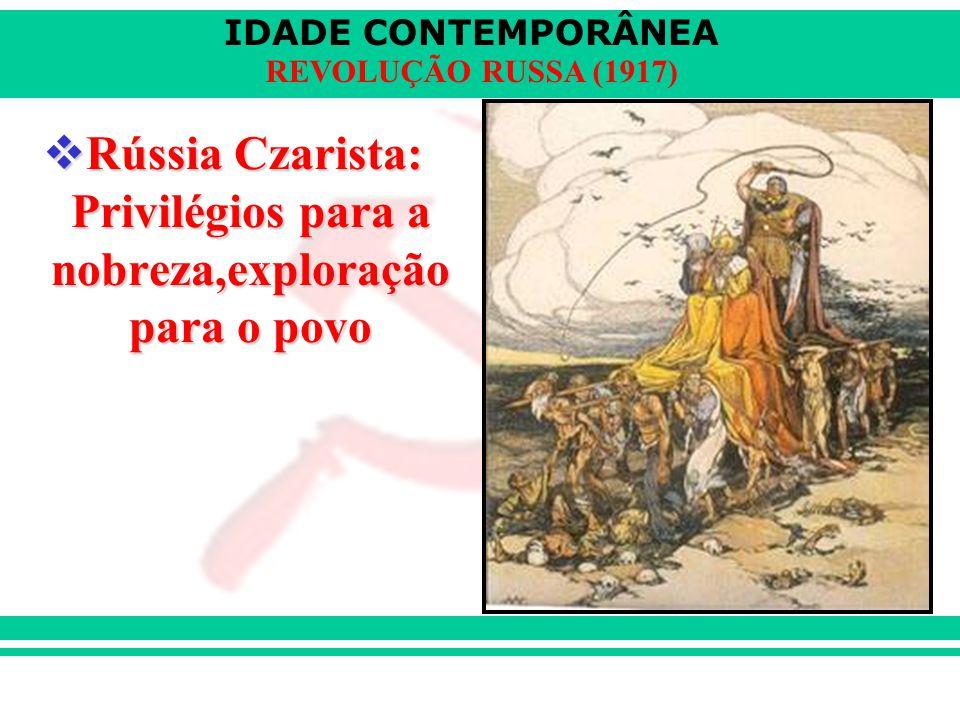 IDADE CONTEMPORÂNEA REVOLUÇÃO RUSSA (1917)  Rússia Czarista: Privilégios para a nobreza,exploração para o povo