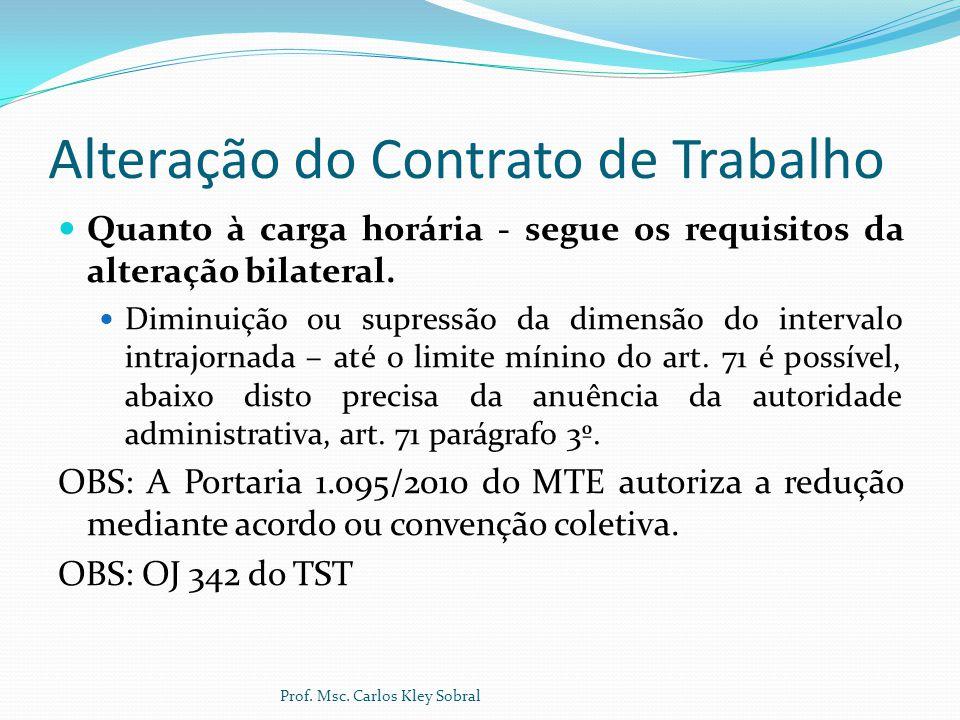 Alteração do Contrato de Trabalho Quanto à carga horária - segue os requisitos da alteração bilateral. Diminuição ou supressão da dimensão do interval