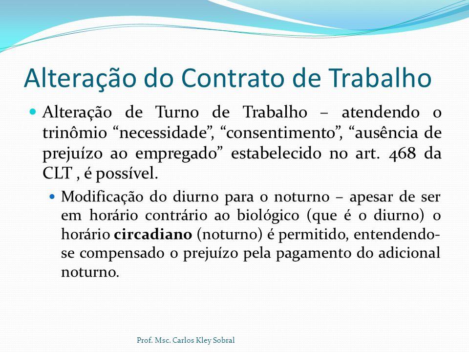 """Alteração do Contrato de Trabalho Alteração de Turno de Trabalho – atendendo o trinômio """"necessidade"""", """"consentimento"""", """"ausência de prejuízo ao empre"""