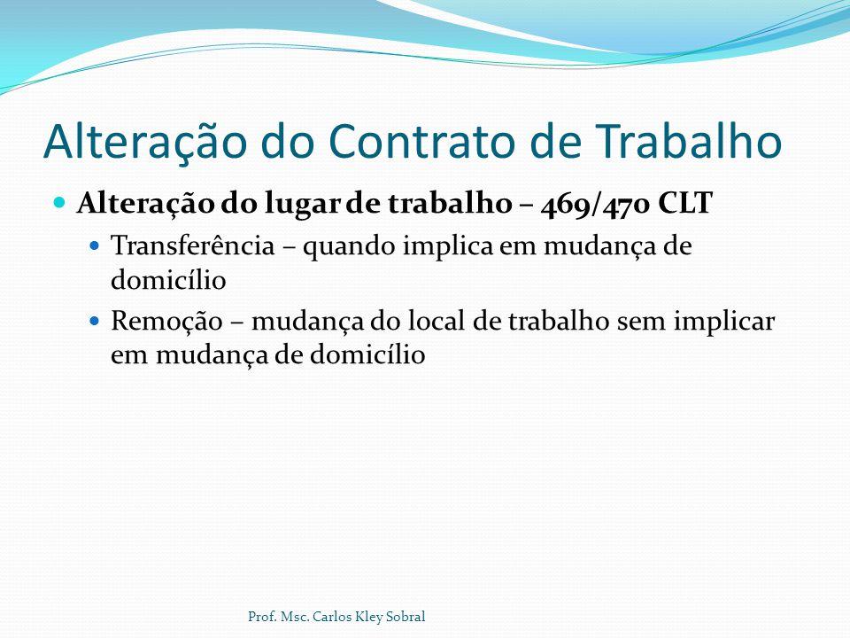 Alteração do Contrato de Trabalho Alteração do lugar de trabalho – 469/470 CLT Transferência – quando implica em mudança de domicílio Remoção – mudanç